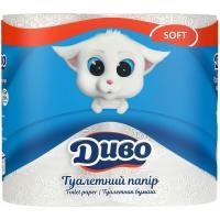 Туалетний папір Диво Soft 2-слойная белая 4 шт Фото