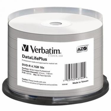 Диск DVD Verbatim 4.7Gb 16X CakeBox 50шт Print-White (43744) - фото 1