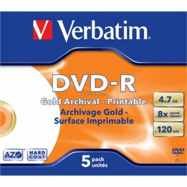 Диск DVD Verbatim 4.7Gb 8x Jewel Case 5шт PRINTABLE (43638) - фото 1