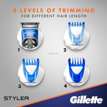 Бритва Gillette Fusion ProGlide Styler с кассетой+3 насадки для бороды/усов (7702018273386) - фото 6