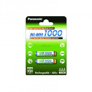Аккумулятор Panasonic High Capacity AAA 1000 mAh NI-MH * 2 (BK-4HGAE/2BE) - фото 1