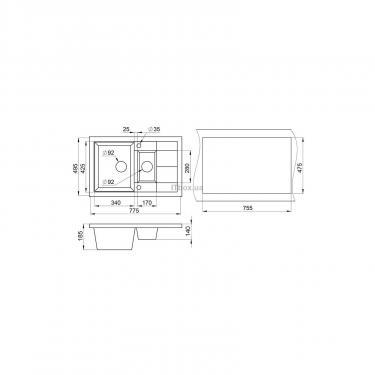 Мойка кухонная Minola MPG 75360-77 Антрацит (металлик) Фото 1