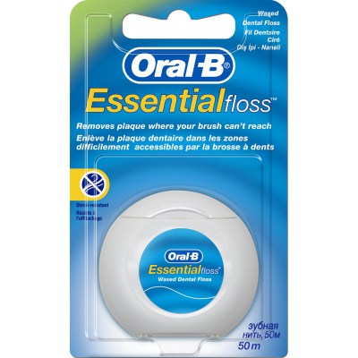 Зубная нить Oral-B Essential floss Waxed мятная 50 м (3014260280772)