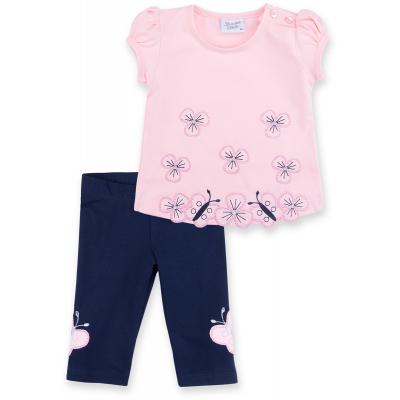 Набор детской одежды Breeze с вышитыми цветочками и бабочками (8882-80G-pink)